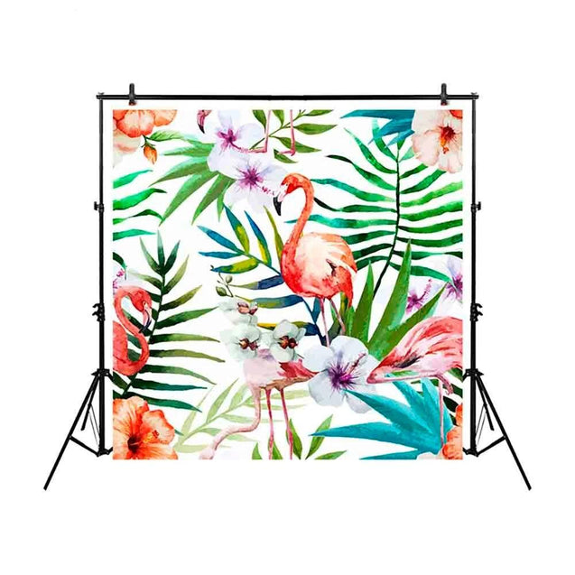 Colorful Watercolor Flamingos Flower Photography Backdrop Background