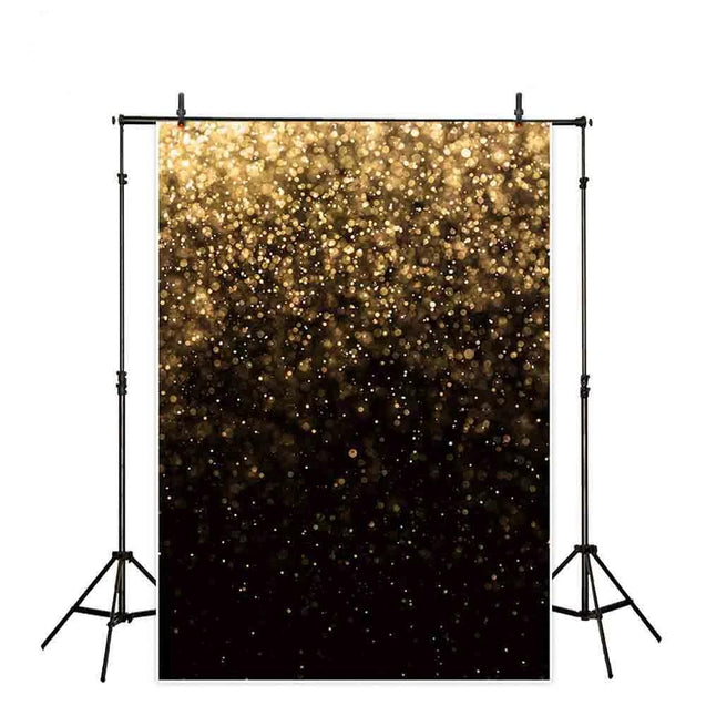 Gold Black Bokeh Glitter Photography Backdrop