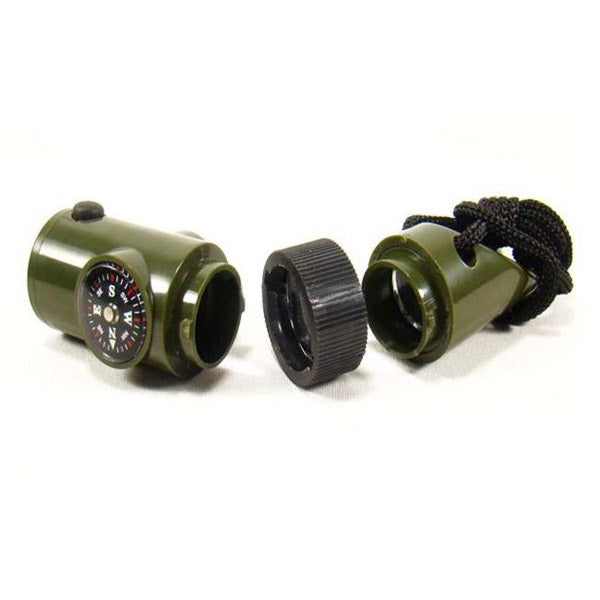 Outdoor Survival 7 in 1 multi-function Compass Whistle