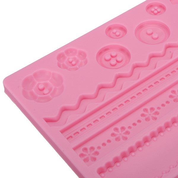Pastry Cake Fondant Decorating Silicone Flower Bowknot Mold Mould Embossing Pad