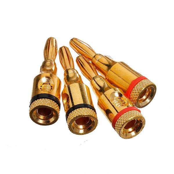 5X4pcs 4mm Speaker Banana Plug Audio Jack Cable Connector Adapter Gold