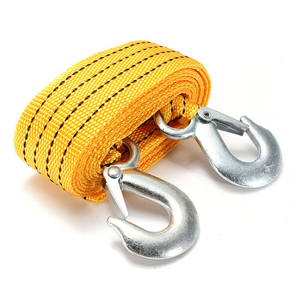 3T 2.8M Tow Towing Pull Rope 2 Heavy Duty Forged Steel Hooks