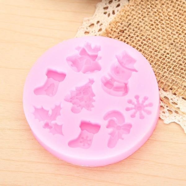 F0537 Silicone Christmas Cake Mold Fondant Soap Chocolate Mold