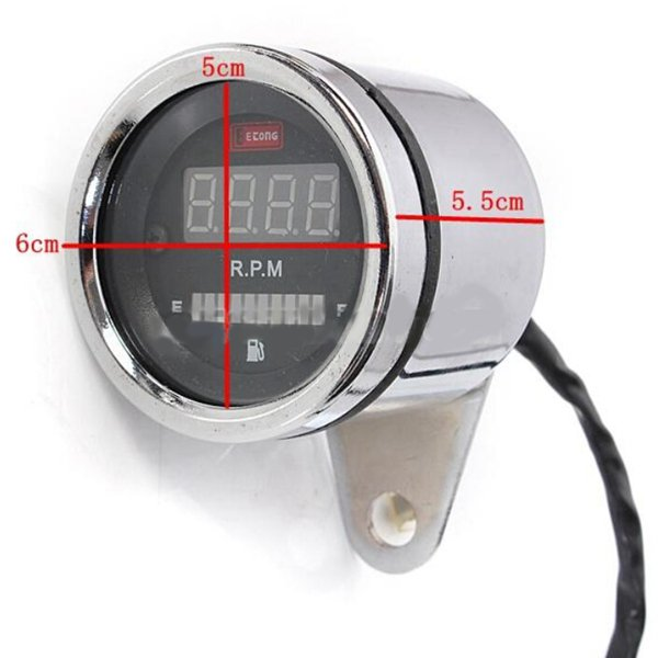2 In 1 Motorcycle LED Digital Speedometer Tachometer Oil Fuel Gauge