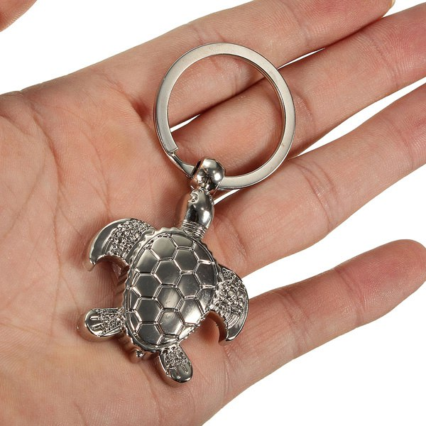 Creative Silver 3D Sea Turtle Model Keyring Simple Style Metal Key Chain Gift