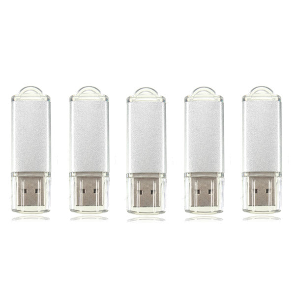 5 x 128MB USB 2.0 Flash Drive Candy Silver Memory Storage Thumb U Disk