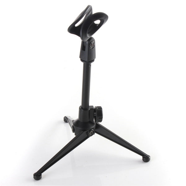 Desktop Table Adjustable Metal Tripod Microphone Mic Stand Holder With Clip