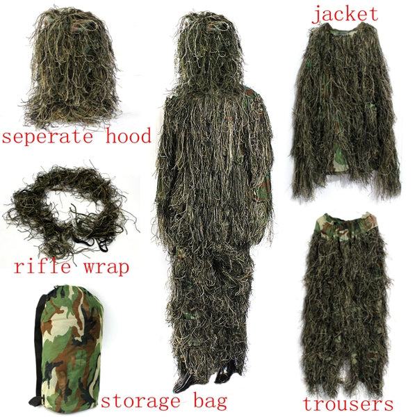 Woodland Camo Camouflage clothing 3D Tree Hunting Adults Ghillie Suit