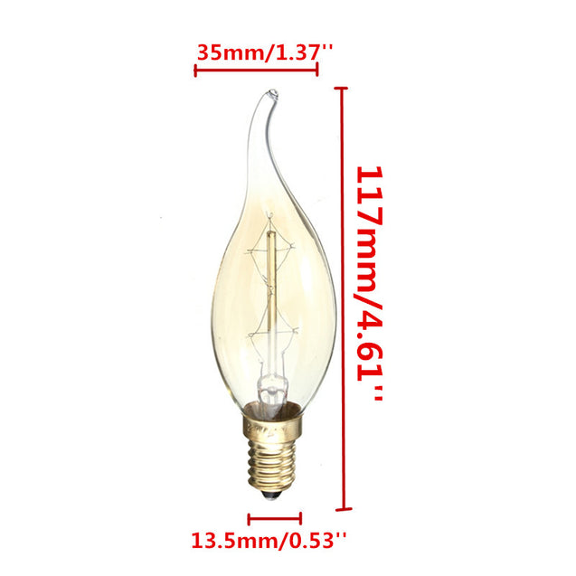 C35 40W E14 Vintage Antique Edison Carbon Filamnet Clear Glass Bulb 220V