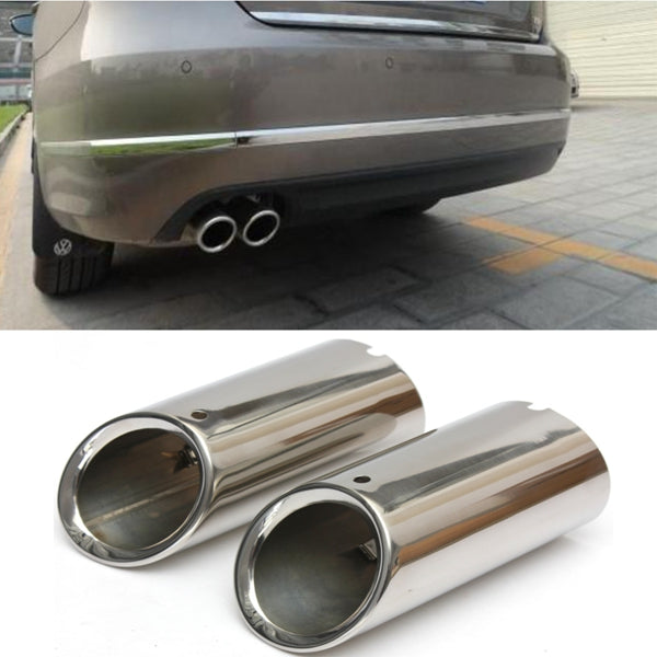 2X Stainless Steel Exhaust Muffler Tip Trim Tailpipe for VW SCIROCCO MK3 09-14