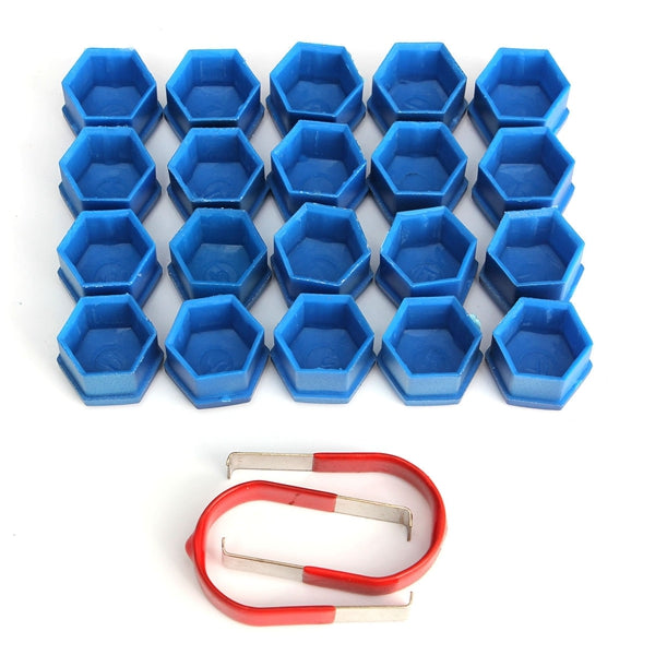 17mm Car Alloy Wheel Trims Nut ABS Plastic Blue Caps Bolts Covers Nuts Set of 20