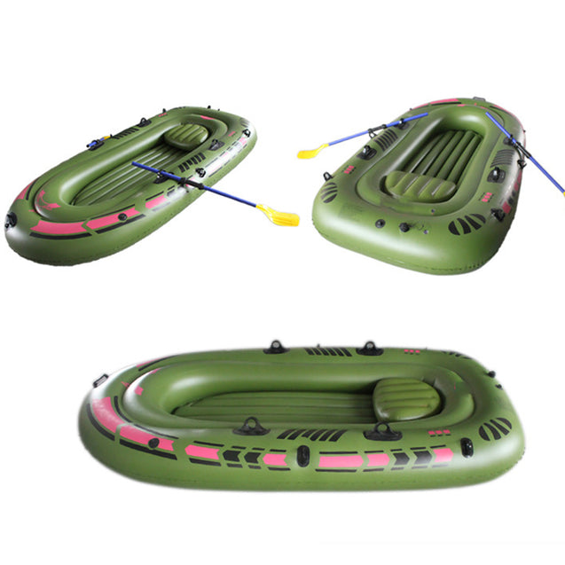 94.4''x53.9'' 3-Person PVC Rubber Green Kayak Inflatable Boat With Air Pump Oars Rope Fishing Boat