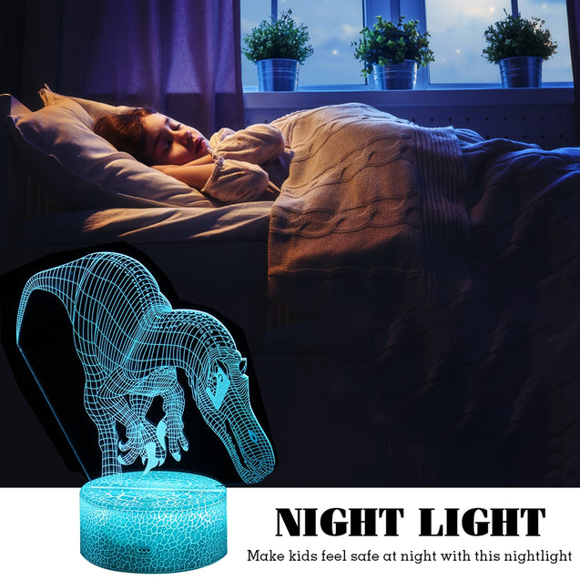 3D Illusion Dinosaur Night Light Touch RemoteEControl Home Decor Lamp Table Gift