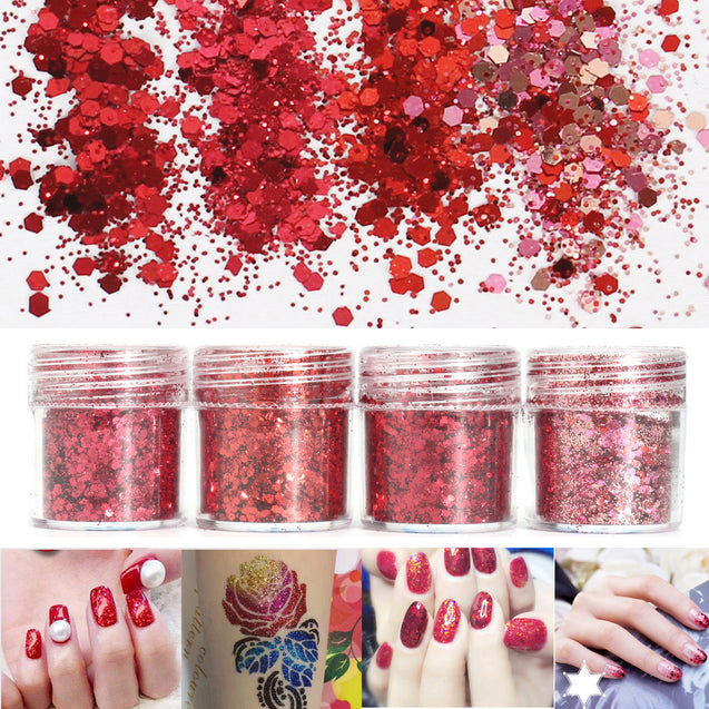 Red Nail Art Glitter Powder Sequins Decoration Tips 3D Mixed Dust