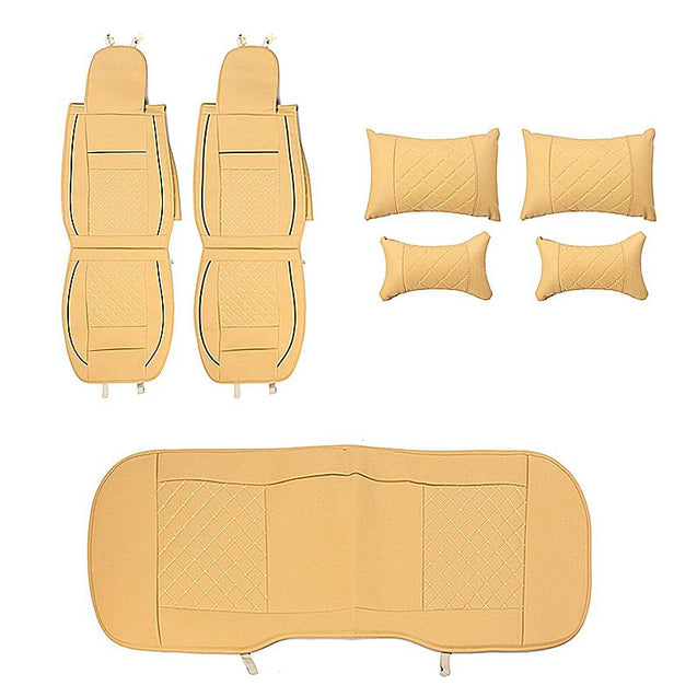 PU Leather 5 Seats Car Seat Cover Cushion Front Rear with Lumbar Pillow Head Rest