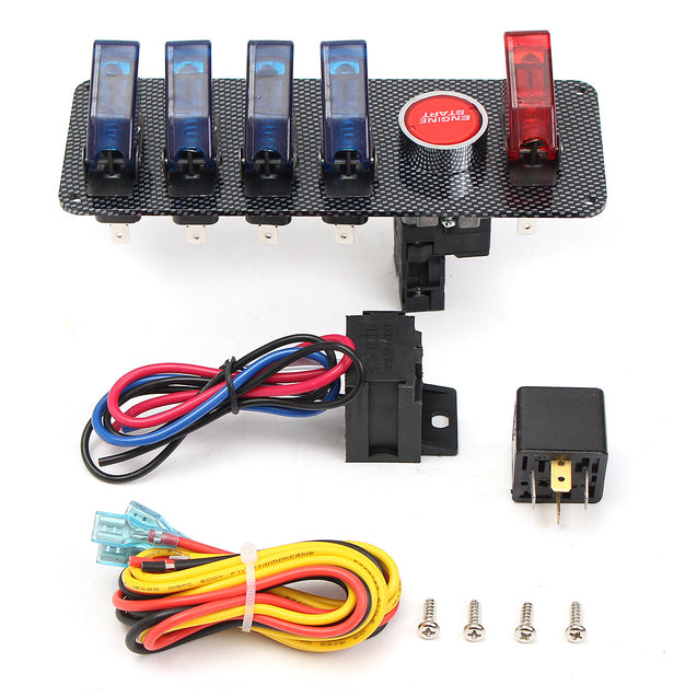 12V Racing Car Ignition Switch + 4 Blue & 1 Red LED Toggle Button Panel Housing