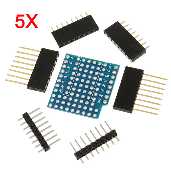 5Pcs WeMos ProtoBoard Shield For WeMos D1 Mini Double Sided Perf Board Compatible
