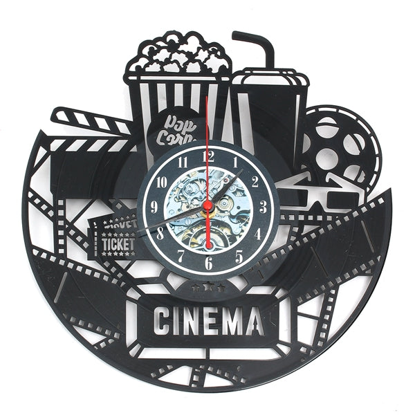 12 12 Inch 3D Black Popcorn Wall Clock Theater Movie Cinema Snack Bar Clocks Home Decor""