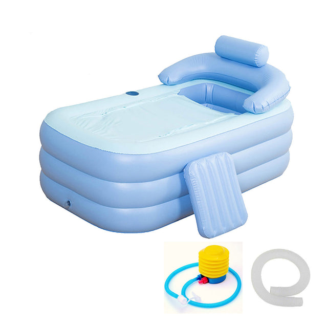 Foldable Inflatable Bathtub 160x84x64cm PVC Adult Bath Tub with Air Pump
