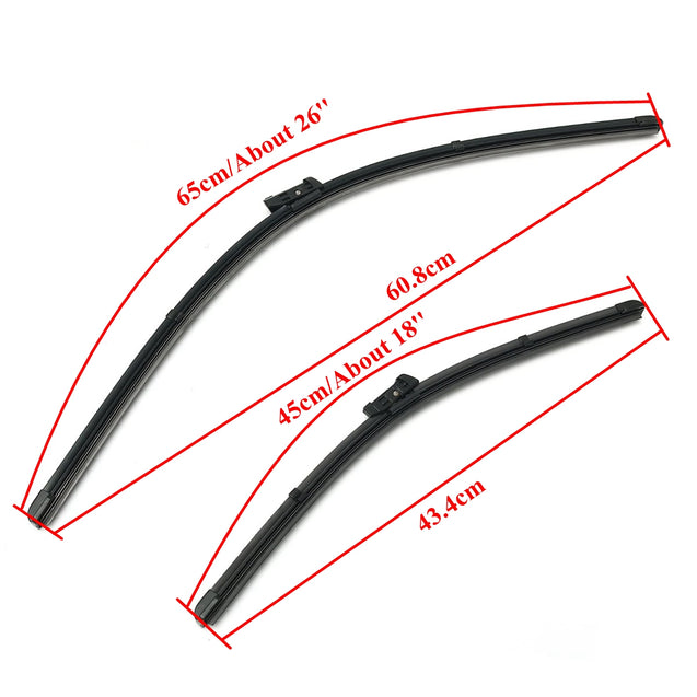 Pair Front Wiper Blades Set For Audi A3/VW GOLF MK7 2012- 2016 RHD Vehicles