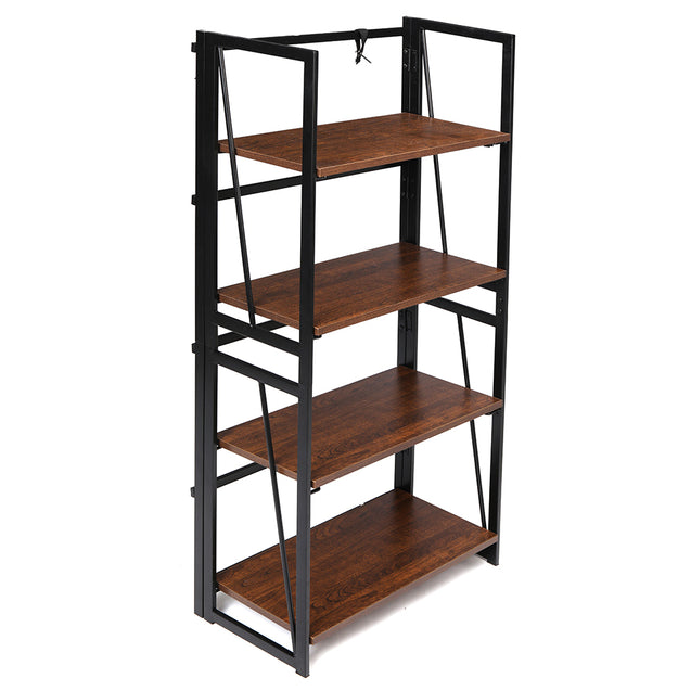 Douxlife DL-BS01 Bookshelf 4 Tiers Foldable Large Space Storage Organizer MDF Stable Steel Frame For Home Office