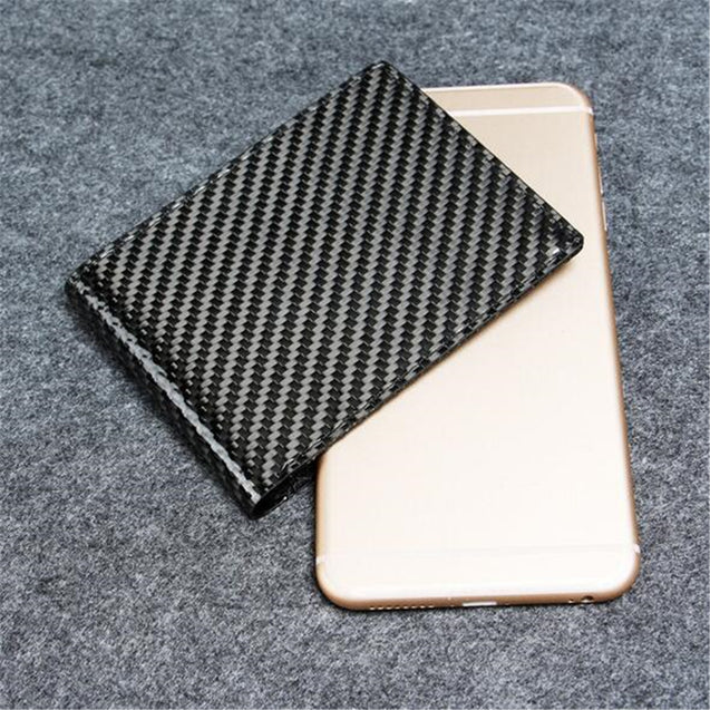 Men RFID Blocking Carbon Fiber Wallet Short Business Slim Pocket Purse Holder