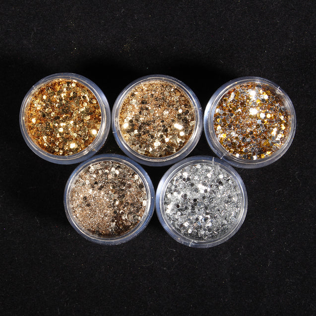 Gold Nail Art Glitter Dust Powder Silver Sequins Sheets Tips Manicure 3D Decoration Set