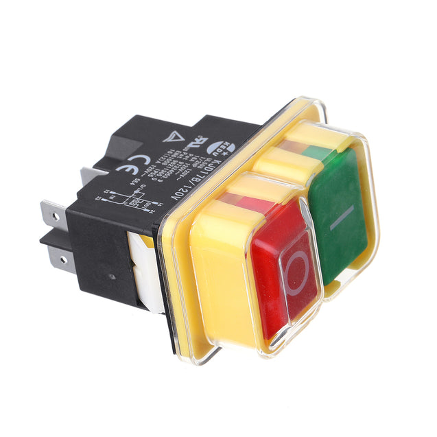 KEDU KJD17 120V 16/12A 5Pins Electromagnetic Push Button Switch for Controlling Motor