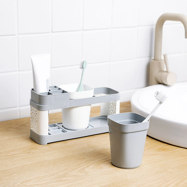 Toothbrush Holder Stand Plastic Cup Set Shelf Bathroom Toothpaste Storage Rack