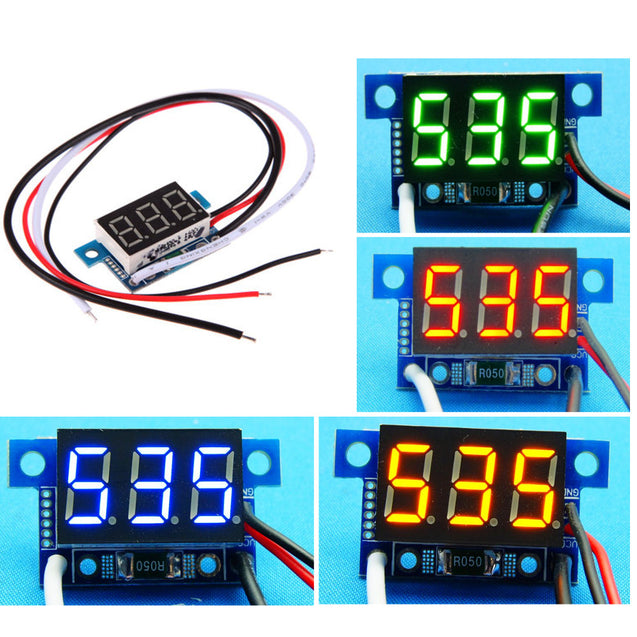 5pcs Green Light Mini 0.36 Inch DC Current Meter DC0-999mA 4-30V Digital Display With Reverse Connection Protection Ammeter