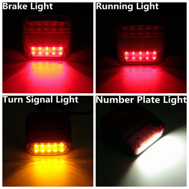 12V Trailer Truck 20 LED Taillight Turn Signal Brake Number Plate Light Lamp