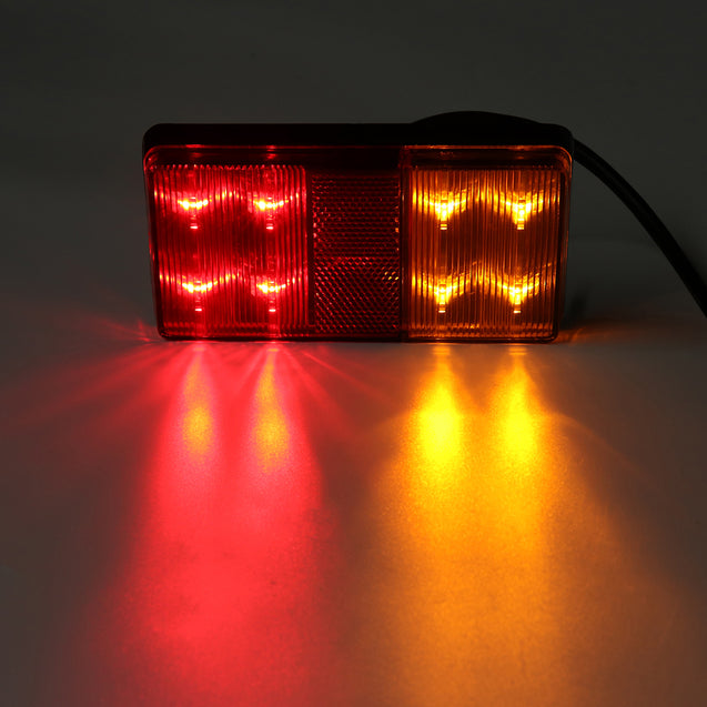 2PCS 8 LED Tail Brake Indicator Lights IP67 Waterproof Red Yellow Color Universal For 12V Truck Trailer