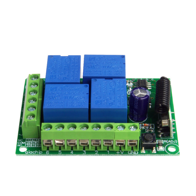 433MHz Universal Wireless Remote Switch DC12V 4CH RF Relay Receiver Module for Remote Garage/LED/Home