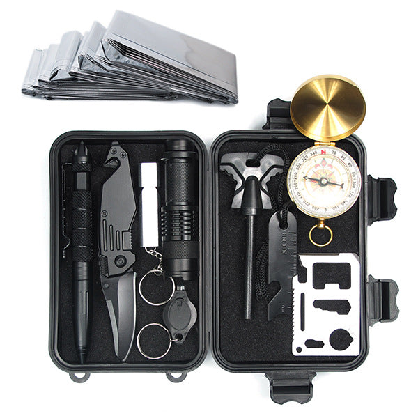 IPRee 10 in 1 Upgraded Outdoor EDC Survival Kit Case SOS First-aid Emergency Multi-tool