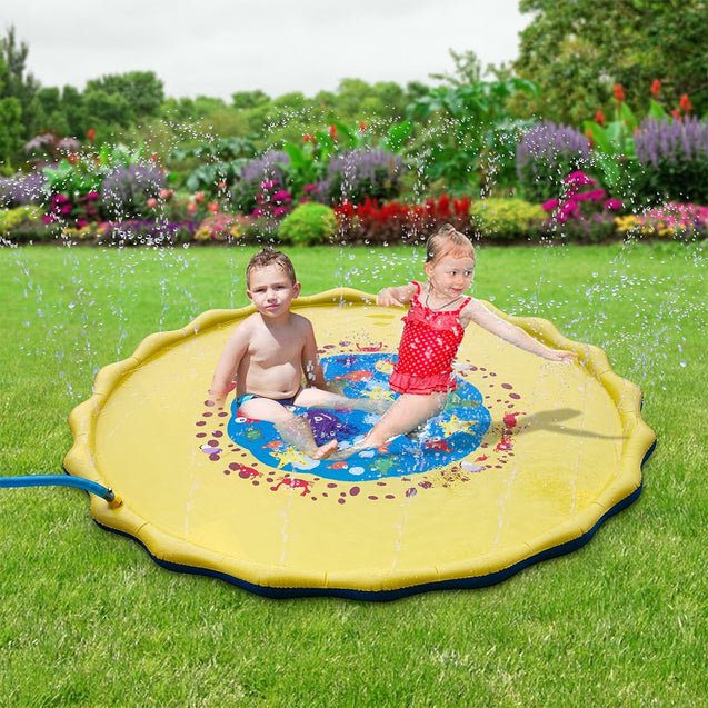 170CM Outdoor Inflatable Sprinkle Splash Mat Toddler Baby Kid Garden Water Spray Toys Play Pool