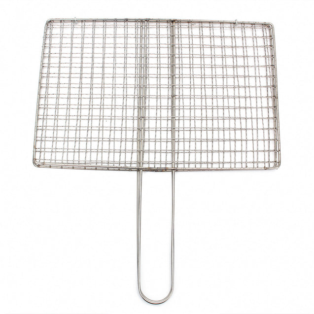 Outdoor Picnic BBQ Fish Meat Grill Stainless Steel Net Mesh Wire Clamp