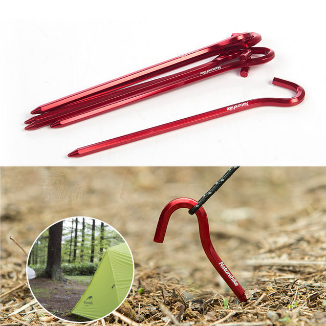 Naturehike NH17D027-D 6Pcs Hook Tent Pegs 7001 Aluminium Alloy Nails Camping Stake Accessories