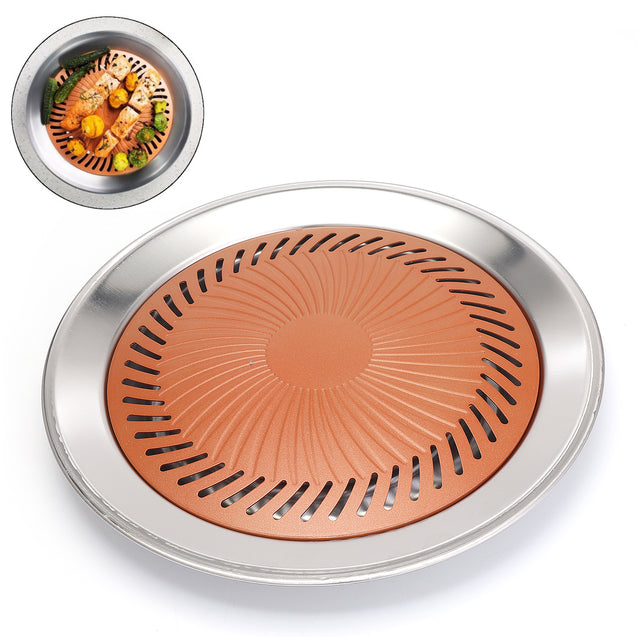 Non-stick Grill Pan Stainless Steel Picnic BBQ Plate Healthy Smokeless Roasting Stove