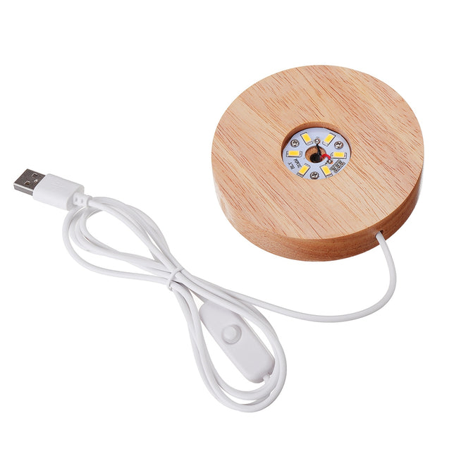 Circular Lampholder Solid Wood USB Interface Trophy Laser LED Night Light Stand Base