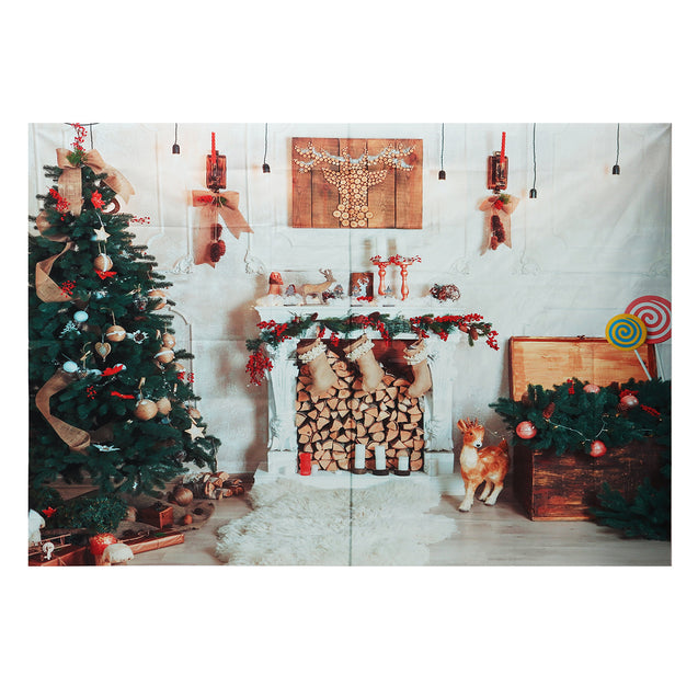 8x6FT Christmas Tree Fireplace White Blanket Photography Backdrop Studio Prop Background
