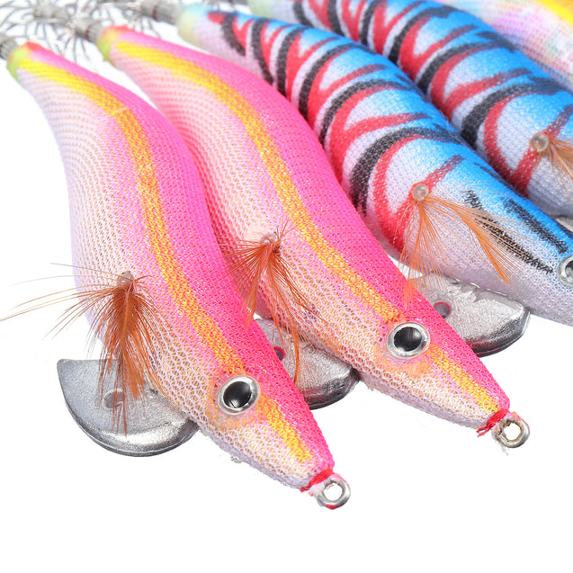 10Pcs/Set Squid Jigs Clothed Fishing Lure #3.5 Fishing Tackle Colorful Hook With Bag