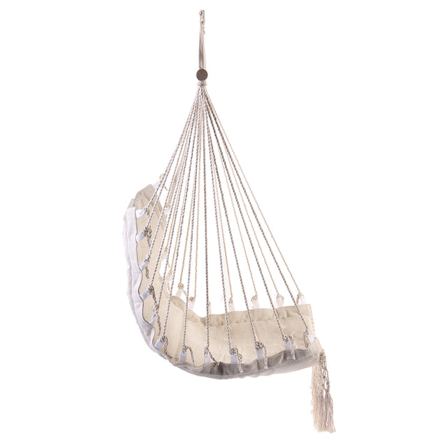 100x55cm Deluxe Hanging Hammock Swing Garden Outdoor Hanging Chair with Wooden Stretcher