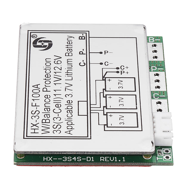 3S 11.1V High Current 100A 3.7V Lithium Battery Protection Board With Balance