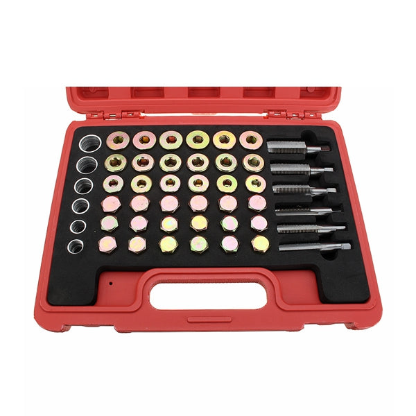 114Pcs Car Oil Pan Thread Repair Kit Including Thread Tapping Oil Shell Screws Seal Ring
