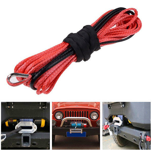 6mm x15m 6400LBs Synthetic Fiber Winch Rope Tow Cable for ATV SUV 4X4 Off Road