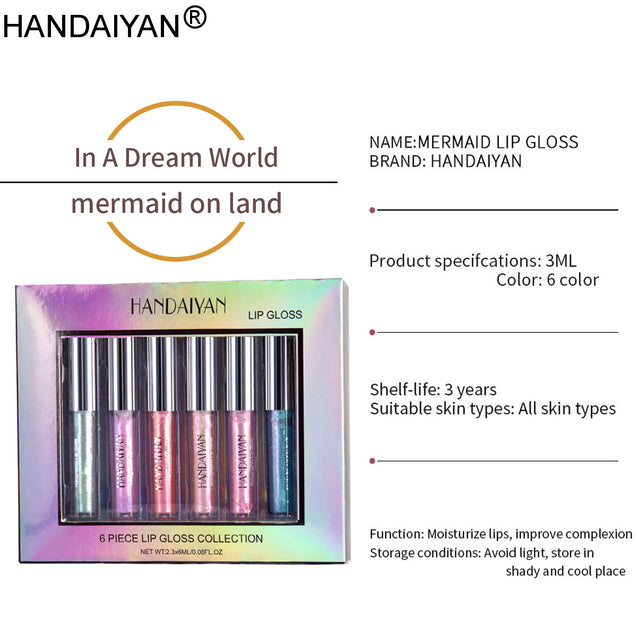 HANDAIYAN 6 Colors Women  Glitter Lip Gloss Moisturizing Shiny Lip Gloss Waterproof Lipstick Natural Silky Glitter Lip Stick Makeup