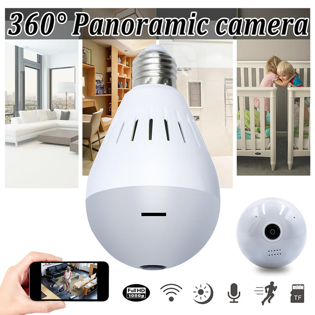 Wireless HD 1080P WiFi IR Light Bulb Camera 360 Panoramic Fisheye Two Way Audio