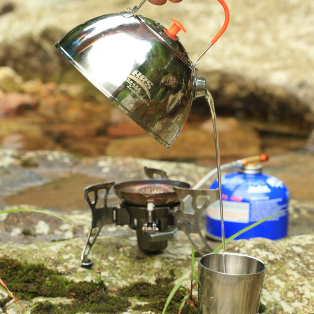 BRS-TS06 0.65L Outdoor Stainless Steel Tea Pot Portable Camping Hiking Kettle Pot