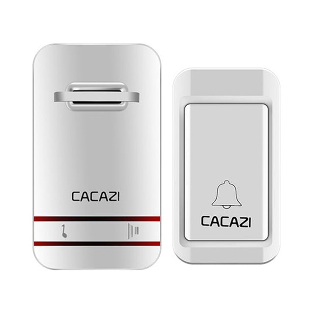 CACAZI Wireless Doorbell No Battery Need Waterproof Doorbell Cordless Remote AC 110V-220V EU