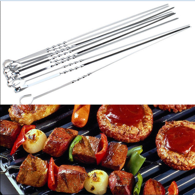 10Pcs 38cm Stainless Steel Barbeque Skewer Needle BBQ Kebab Cooking Grill Stick